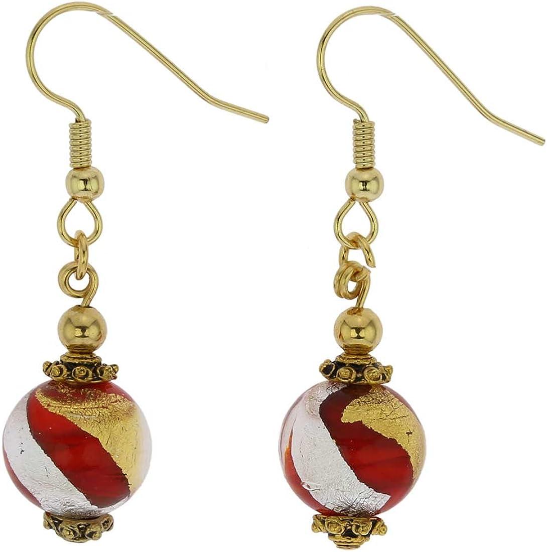 glassofvenice Antico tesoro bolas pendientes–de cristal de Murano–rojo, dorado y plateado