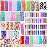 Slime Supplies Kit, 80 Pack Slime Beads Charms Includes Floam Foam Beads, Fishbowl Beads, Glitter Jars, Slices, Pearl, Colorful Sugar Paper Accessories and Slime Tools for DIY Slime Making By WINLIP