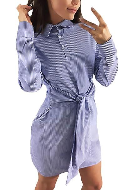 a2737fb291 Battercake Vestido Camiseros Mujer Cortos Elegantes Primavera Verano  Fashion Flecos Vestidos Camiseros Simplemente Mini Vestido De Solapa  Casuales Mujeres ...