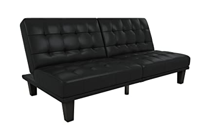 DHP Dexter Futon And Recliner Lounger, Multi Functional Sofa For Small  Spaces, Black