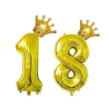 Amosfun 4 Piezas Globo de Aluminio para Cumpleaños Número 18 ...