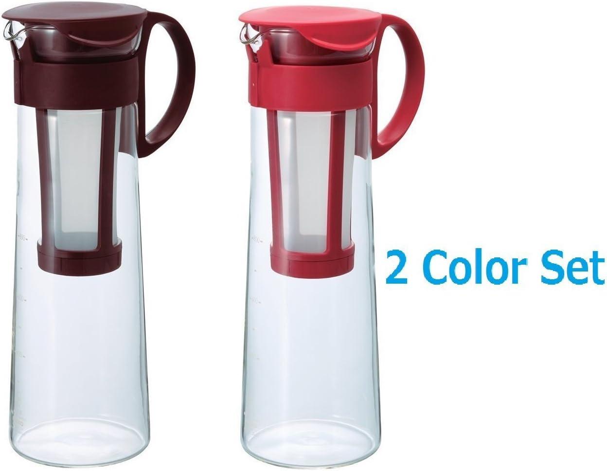 2 Color Set New Hario Hario 1000ml Mizudashi Cold Brew Coffee tea Server Red Brown'set