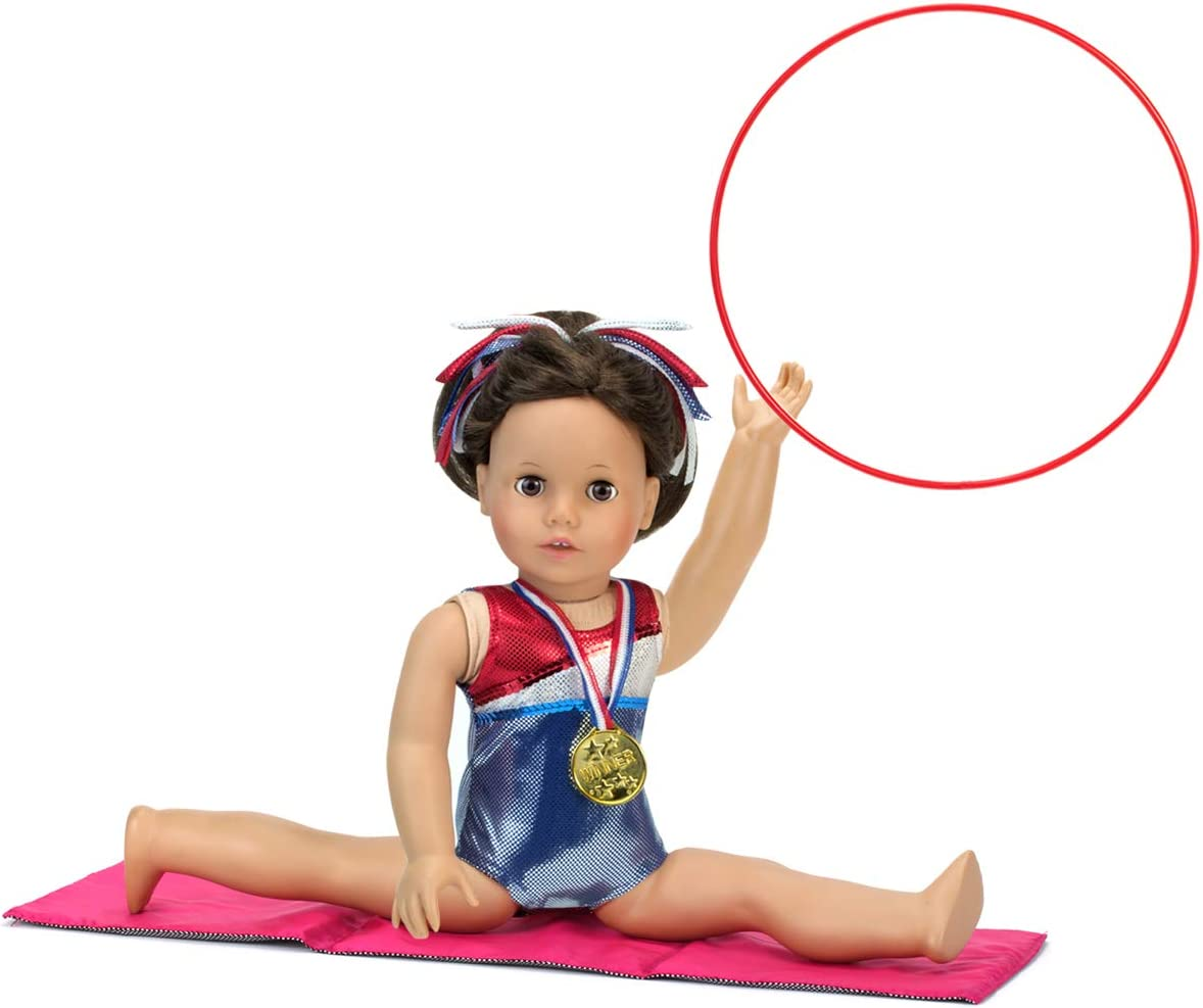Sophias 18 Inch Doll Two Gymnastics Set Includes 2 Leotards Hair Accessory Gold Medal Sized for 18 Inch Dolls Tumbling Mat Rhythmic Hoop and Ribbon