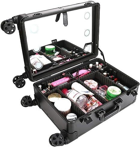 Maleta Maquillaje Profesional con ruedas Maletín para maquillaje de gran capacidad Estuche de Cosméticos con Espejo y 6 regulables bombillas de LED: Amazon.es: Equipaje