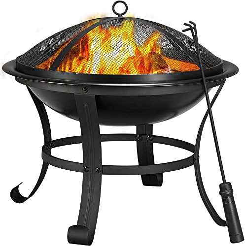 YAHEETECH Fire Pit 22inch Outdoor Wood Burning BBQ Grill Steel Firepit Bowl