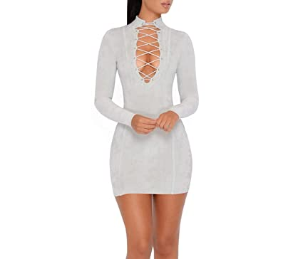 better-caress Sexy Lace up Bodycon Long Sleeve Turtleneck Suede Club Bandage Dresses Vestidos,