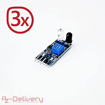AZDelivery 3 x IR infrarrojos Módulo para kollissions y obstáculos Detección Sensor de distancia para Arduino y Raspberry Pi: Amazon.es: ...