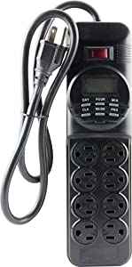 GE 7-Day Programmable Power Strip with Digital Timer, 8 Grounded Outlets (4 Timed / 4 Always On), Indoor, 15 Amp, 1800W, Easy Presets and Custom Settings for Weekly Cycle, Minute Intervals, 15077