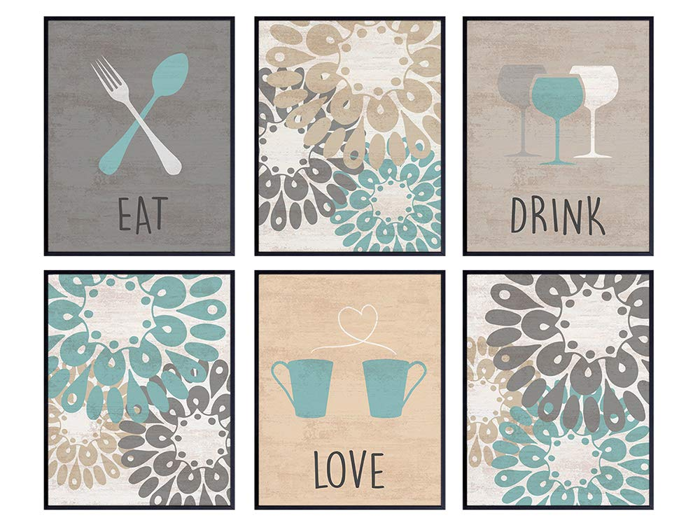 Dining Room Decor - Cafe Kitchen Wall Art Print - Gift for Women, Her, Cooks, Chefs, Engagement, Anniversary, Birthday - Contemporary Home Decor Mural - Eat Drink Love Photo Pictures Set