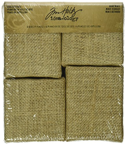Bare Minis Burlap Panels by Tim Holtz Idea-ology, 2 Each of 3 x 3 Inch and 2.75 x 3.5 Inch, TH93103]()