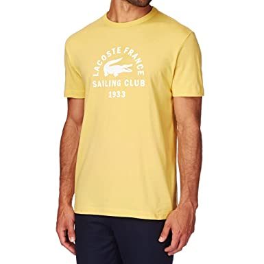 Lacoste Camisetas Vela Club T-Shirt. Amarillo Dorado Large: Amazon ...