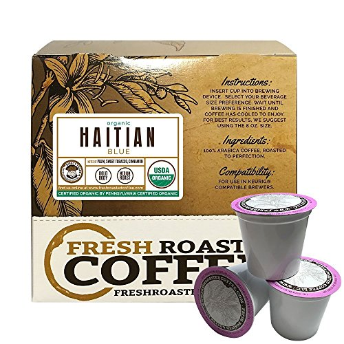 Fresh Roasted Coffee LLC, Organic Haitian Blue Coffee Pods, Single Origin, Direct Trade, USDA Organic, Medium Roast, Capsules Compatible with 1.0 & 2.0 Single-Serve Brewers, 18 Count