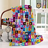 HAIXIA Blanket Colored Alphabet Letters Education School Puzzle Children Graphic Multicolor