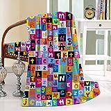 HAIXIA Blanket Colored Alphabet Letters Education School Puzzle Children Graphic Multicolor