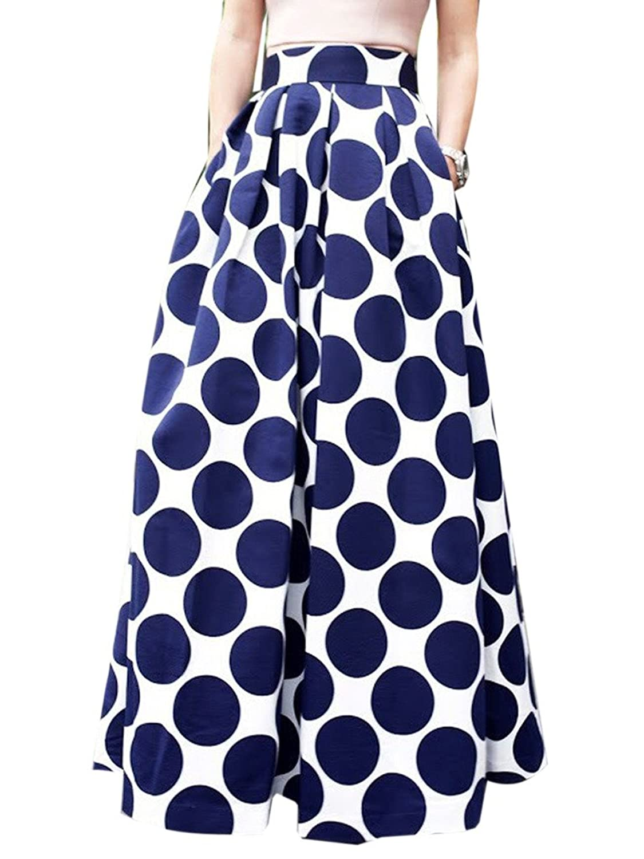 Clothink Women White Pleated Vintage Polka Dot Maxi Skirt