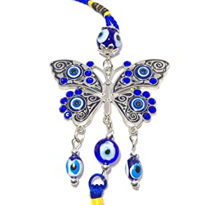 Discount4product Butterfly with Evil Eye Metal Car Hanging (20 cm x 5 cm x 2 cm)