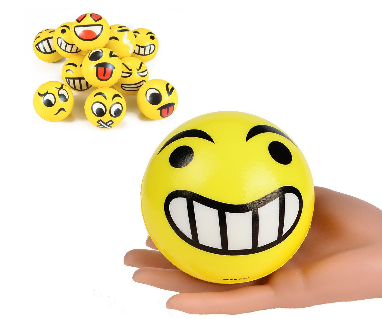 [4-Inch] Set of 12 JUMBO Emoji Face Yellow Foam Soft Stress Novelty Big Toy Balls (1 Dozen) (4'')