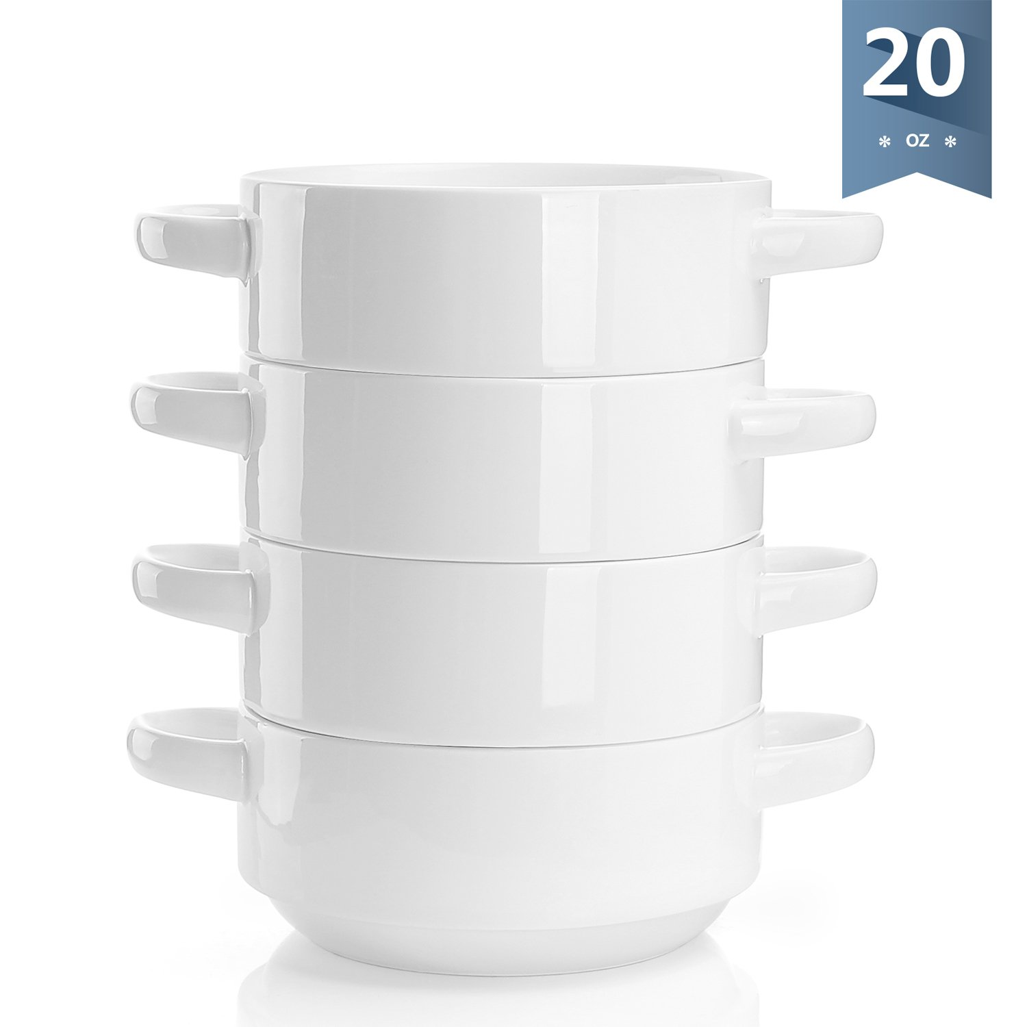 Sweese 1305 Porcelain Bowls with Handles - 20 Ounce for Soup, Cereal, Stew, Chill, Set of 4, White