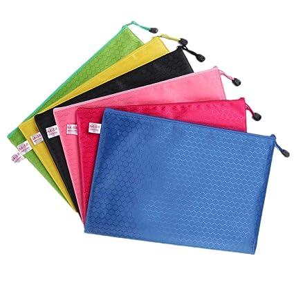 Transparent Waterproof Zipper Grid File Bag Business Office Folder Student Learning Materials Stationery Bag color Random Filing Products