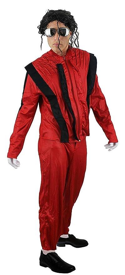 ILOVEFANCYDRESS - Disfraz de Michael Jackson en Thriller para Adulto (pantalón y Chaqueta, Tallas S-XL), Color Rojo