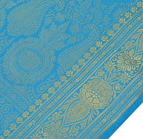 Skirts 'N Scarves Women's Art Silk Brocade Saree With Blouse Piece (Blue) - Scarf Silk Brocade