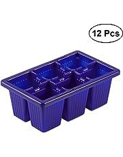 Ounona 12PCS Seed Sprouter starter 6celle per vaschetta vassoio piantina pianta Grower (blu)