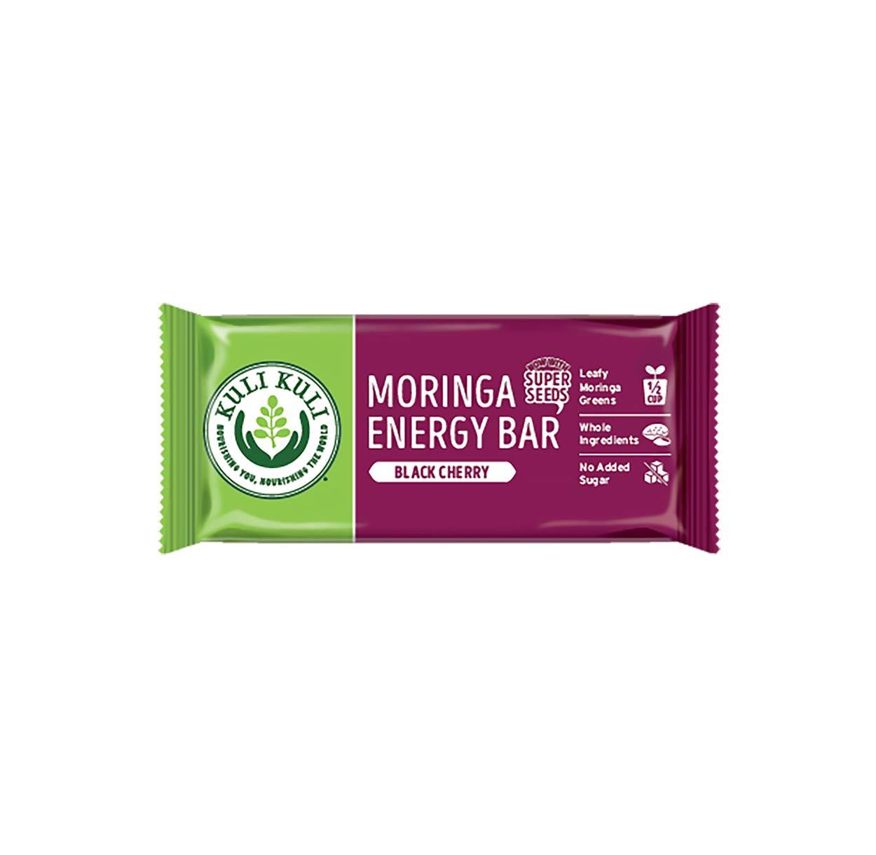 Kuli Kuli Moringa SuperFood Energy Bar, Black Cherry, 1.6 Ounce Bars (Box of 12) Vegan, Gluten-Free Energy Bar, Contains Half Cup of Leafy Greens, Chia & Pumpkin Seeds No Added Sugar, Convenient Snack by Kuli Kuli