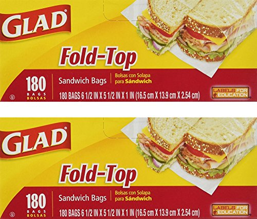 Glad Fold Top Sandwich Bags, Plastic Bags 360-Count (Plastic Top)