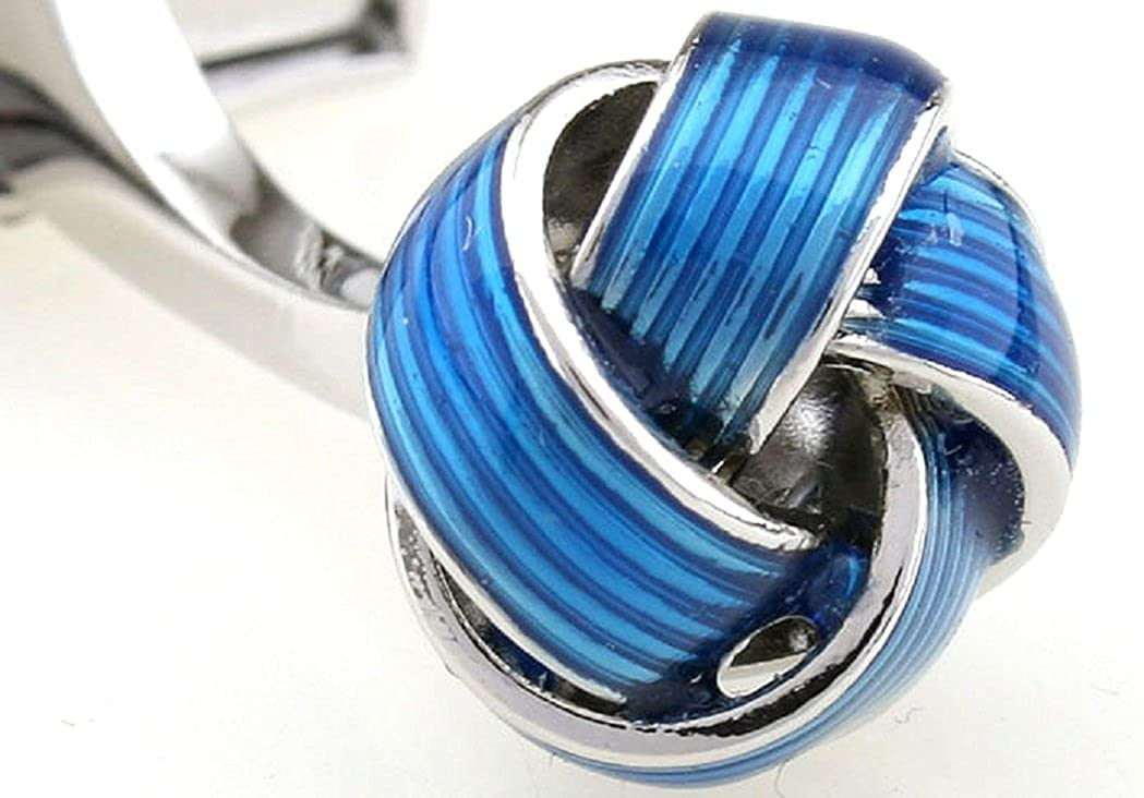 - MRCUFF Knot bluee Pair Cufflinks in a Presentation Gift Box & Polishing Cloth
