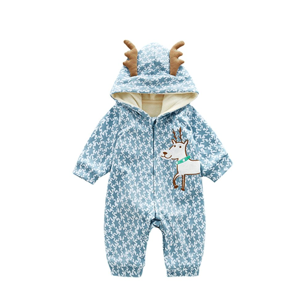 TRIEtree Baby Cute Cartoon Embroidery Crawling Clothing Child Antlers Conjoined Clothes Children's Holiday Gifts size 90cm (Blue)