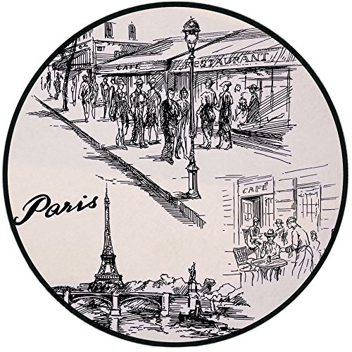 Printing Round Rug,Eiffel Tower Decor,Paris Sketch Style Cafe Restaurant Landmark Canal Boat Streetlamp Retro Art Print Mat Non-Slip Soft Entrance Mat Door Floor Rug Area Rug For Chair Living Room,Bla ()