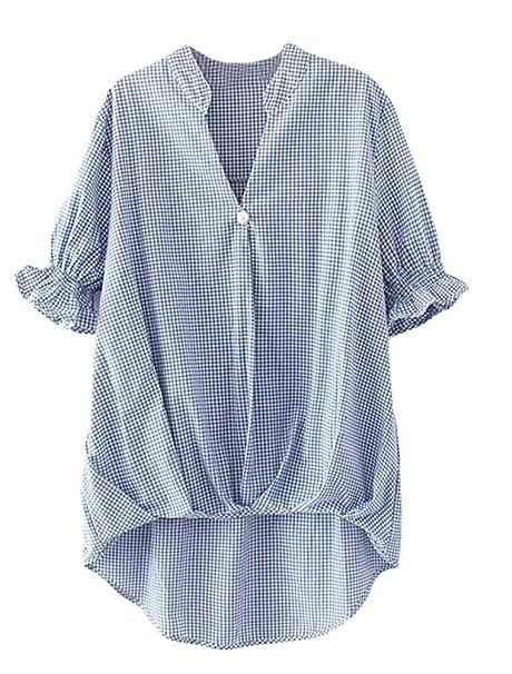 Battercake Blusas Mujer Elegantes Moda Vintage Cuadros Tunicas Verano Manga Corta Casuales Mujeres V-Cuello Irregularmente Asimetricas Anchas Shirt Camisa ...