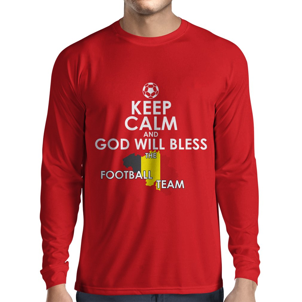 Camiseta de Manga Larga para Hombre Dios bendecirá al equipo de fútbol Belga, La bandera Belga: Amazon.es: Ropa y accesorios