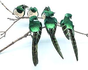 6pcs Green Simulation Bird,Small Fake Decorative Foam Birds for Crafts Garden,Cute Bird Model