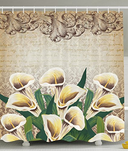 Lilly Green (Ambesonne Floral Shower Curtain Greenery Floral Decor Calla Lilly Flowers Decoration Shower Curtain Vintage Design Retro Pattern Baroque Frame Bouquet of Lillies Romantic Bathroom, Yellow Beige Green)