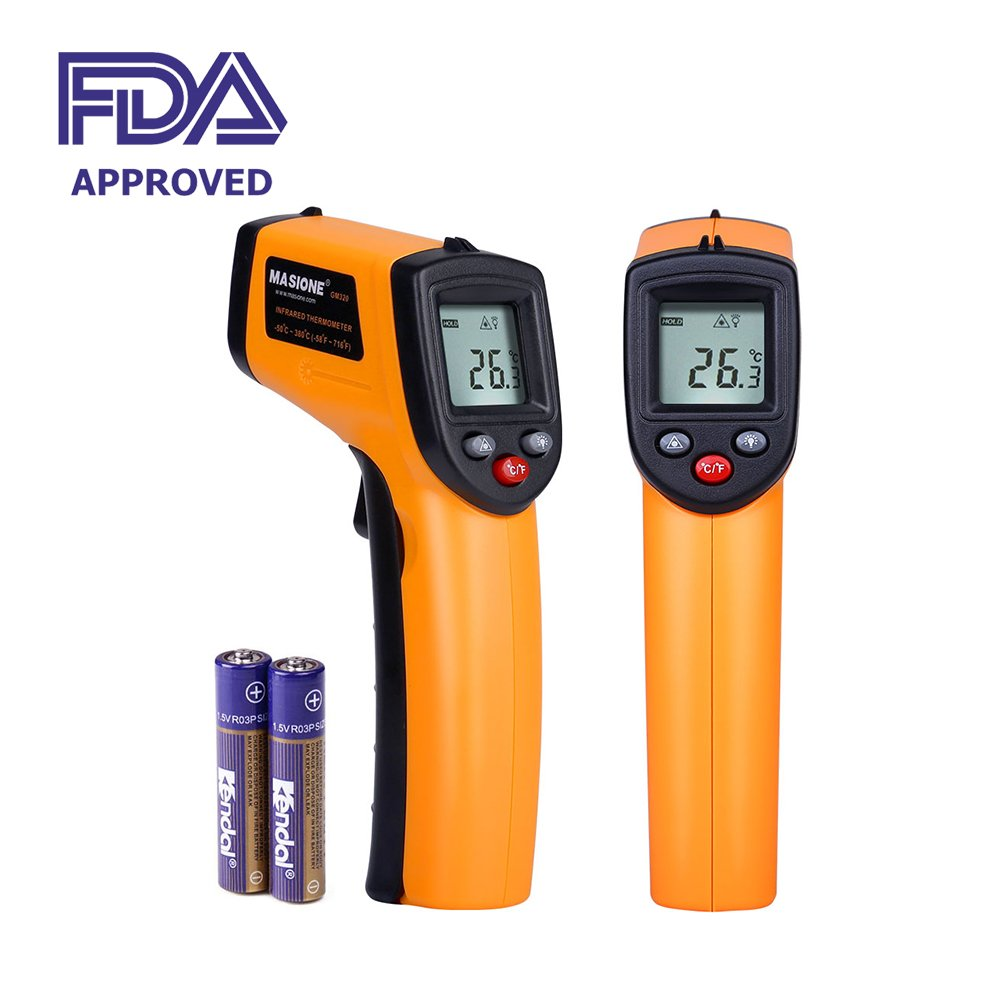 Masione Temperature Gun Non-contact Digital Laser Infrared Ir Thermometer -58°f to 716°f (-50~380℃) Instant-read Handheld,battery Included