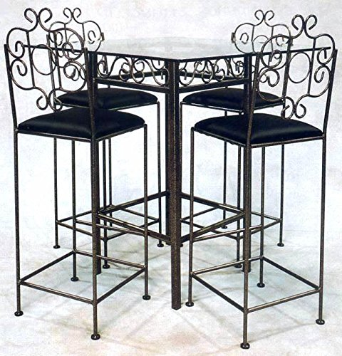Grace Collection Iron Bar Stools (Wrought Iron Pub Table Base - Add Glass Top - Stools Not Included (Deep Red))