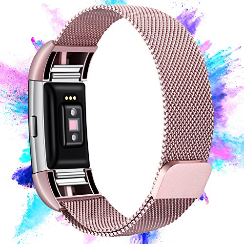 Hotodeal Fitbit Charge 2 Bands, Milanese Stainless Steel Charge 2 Replacement Bracelet, Fitness Accessories Strap with Unique Magnet Lock, Fitbit Charge 2 Metal Band, Rose Pink