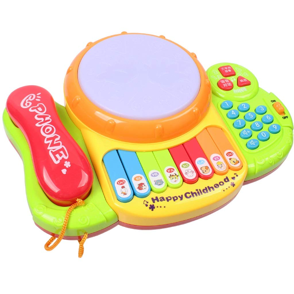 LIPENG-TOY Children's Telephone Music Pat Drums Songs Music Music Keyboard Player Drums Baby Early Education Educational Toys (Color : Yellow)