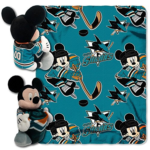 fan products of Officially Licensed NHL San Jose Sharks Ice Warriors Co-Branded Disney's Mickey Hugger and Fleece Throw Blanket Set