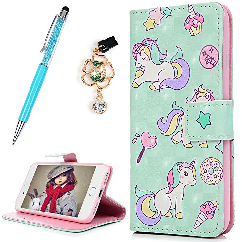 iPhone 7 Case, iPhone 8 Case, iPhone 7 Case Wallet, 3D Design Lovely Unicorn Star Ice Cream Cover Slim ID Card Kickstand Magnetic Flip Bumper PU Leather Waterproof with Pen Dust Plug ZSTVIVA - Green -