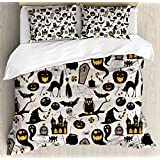 Ambesonne Vintage Halloween Duvet Cover Set Queen Size, Halloween Cartoon Jack o Lantern Tombstone Skulls and Bones, Decorative 3 Piece Bedding Set with 2 Pillow Shams, Light Grey Multicolor