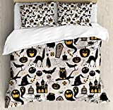 Ambesonne Vintage Halloween Duvet Cover Set King Size, Halloween Cartoon Jack o Lantern Tombstone Skulls and Bones, Decorative 3 Piece Bedding Set with 2 Pillow Shams, Pale Grey