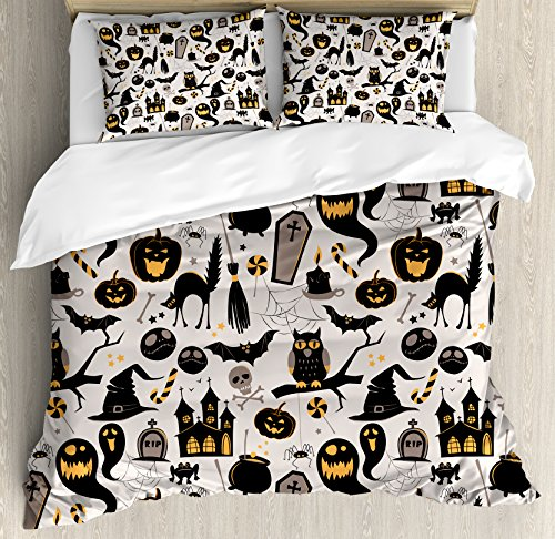 Ambesonne Vintage Halloween Duvet Cover Set Queen Size, Halloween Cartoon Jack o Lantern Tombstone Skulls and Bones, Decorative 3 Piece Bedding Set with 2 Pillow Shams, Light Grey Multicolor ()