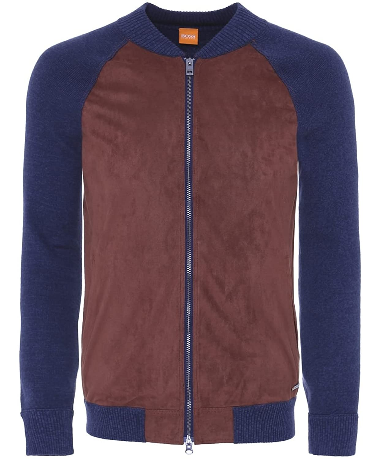 Hugo Boss Orange Men's Arbomber Knitted Sleeve Jacket Dark Blue