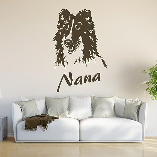 Adhesivo de - Shetland de pastor alemán con perro de nombre de ...