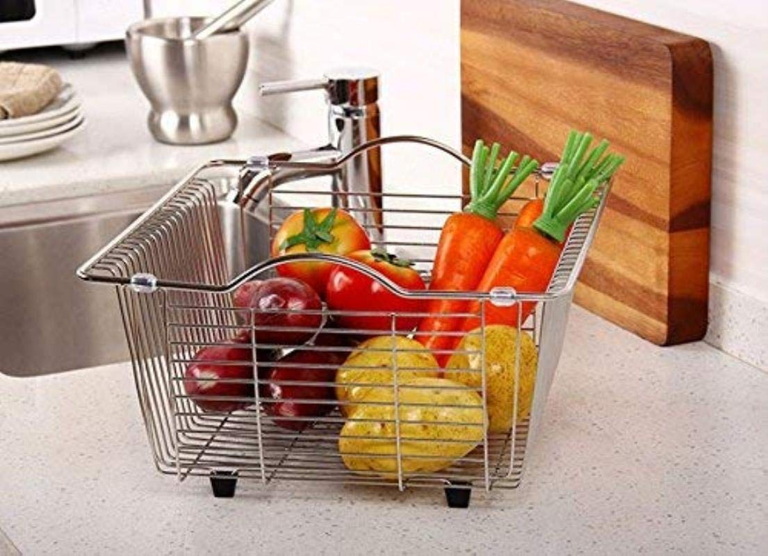 Finishing Rack And Storage Rack Durable Shelves Stainless Steel Square Sink Drain And Dishes Cutlery Basket Kitchen Bathroom Drain And Wash Racks Sub Frame Home Kitchen Drainer Dish Draining Rack 30.5
