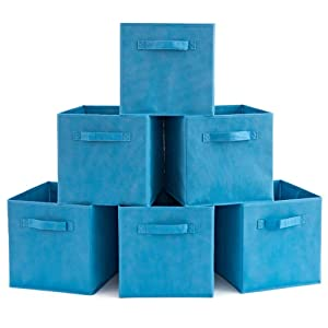 EZOWare Set of 6 Basket Bins Collapsible Storage Organizer Boxes Cube for Nursery Home (Niagara Blue)