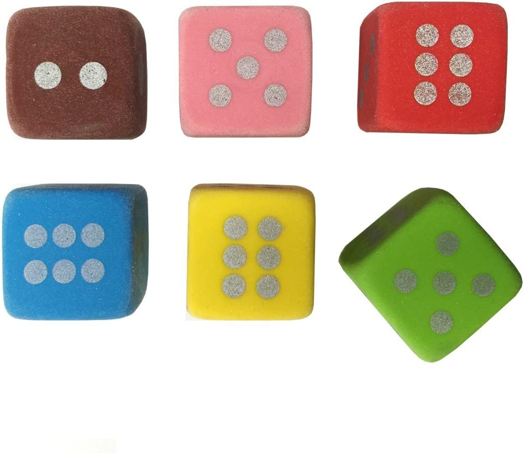 6-pcs Color Dice Eraser Set