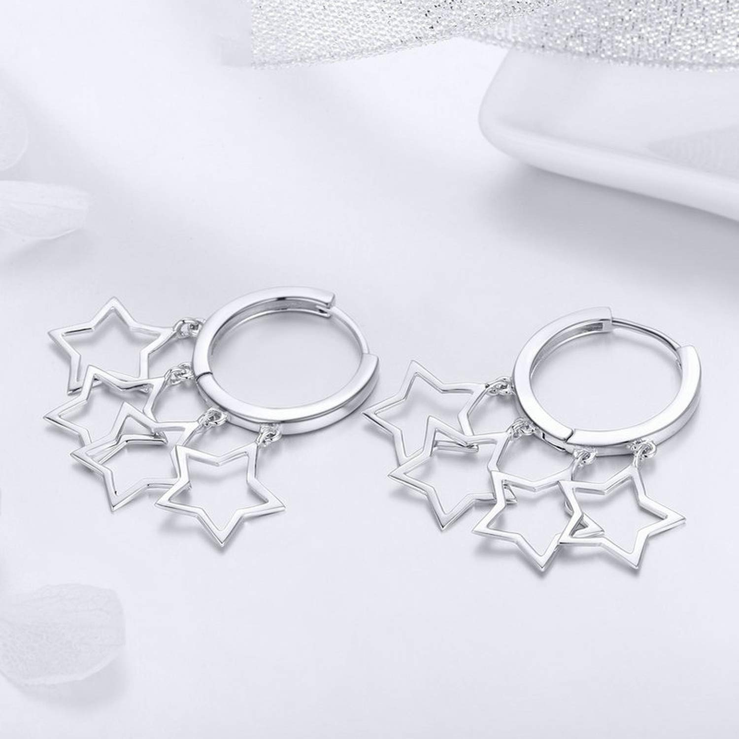 925 Sterling Silver Round Circle Shimmering Star Exquisite Stud Earrings for Women Earrings Jewelry